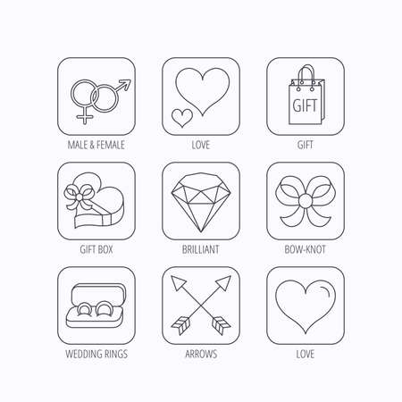 brilliant heart: Love heart, gift box and wedding rings icons. Bow and engagement linear signs. Valentine amour arrows, brilliant flat line icons. Flat linear icons in squares on white background. Vector Illustration