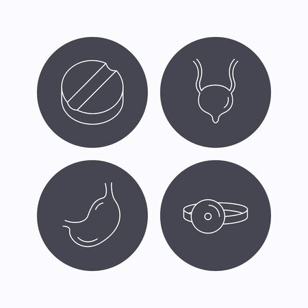analyses: Medical mirror, tablet and stomach organ icons. Urinary bladder linear sign. Flat icons in circle buttons on white background. Vector