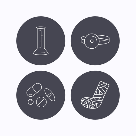 analyses: Gypsum, lab beaker and medical pills icons. Medical mirror linear sign. Flat icons in circle buttons on white background. Vector Illustration