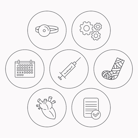 medical check: Syringe, heart and gypsum icons. Medical mirror linear sign. Check file, calendar and cogwheel icons. Vector