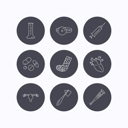otorhinolaryngologist: Syringe, beaker and pills icons. Crutch, medical hammer and mirror linear signs. Heart, broken leg and uterus ovary icons. Flat icons in circle buttons on white background. Vector