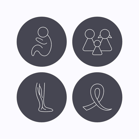 pediatrics: Family, pediatrics and phlebology icons. Oncology awareness ribbon linear sign. Flat icons in circle buttons on white background. Vector Illustration
