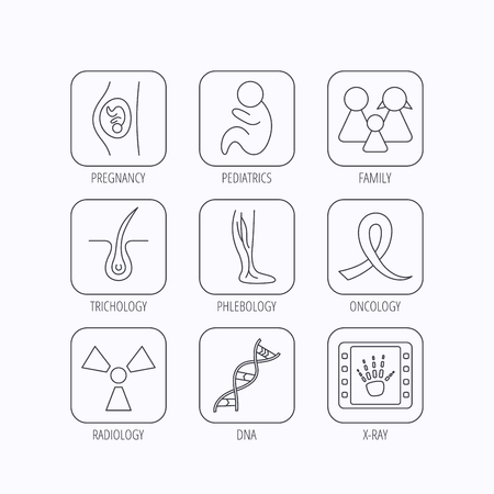 pediatrics: Pregnancy, pediatrics and family icons. Trichology, vein varicose and oncology awareness ribbon linear signs. Radiology, DNA icons. Flat linear icons in squares on white background. Vector Illustration