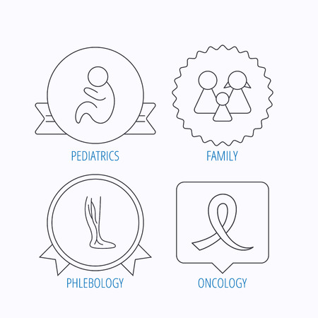 pediatrics: Family, pediatrics and phlebology icons. Oncology awareness ribbon linear sign. Award medal, star label and speech bubble designs. Vector
