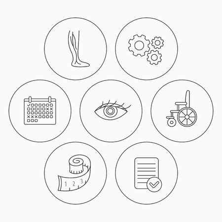varicose veins: Vein varicose, wheelchair and weight loss icons. Eye linear sign. Check file, calendar and cogwheel icons. Vector