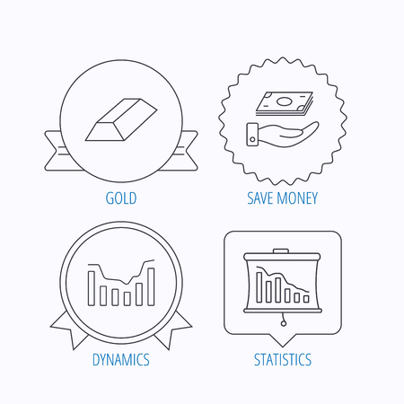 gold bar: Save money, dynamics chart and statistics icons. Gold bar linear sign. Award medal, star label and speech bubble designs. Vector