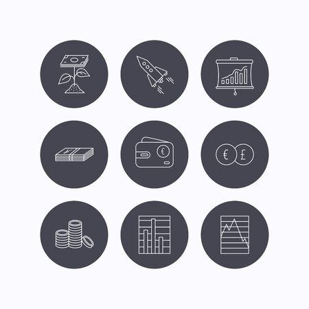 deceleration: Profit investment, cash money and startup rocket icons. Wallet, currency exchange and euro linear signs. Chart, coins and statistics icons. Flat icons in circle buttons on white background. Vector