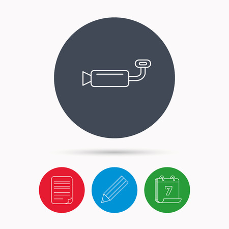 resonator: Muffer icon. Car fuel pipe or exhaust sign. Calendar, pencil or edit and document file signs. Vector