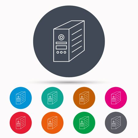 pc case: Computer server icon. PC case or tower sign. Icons in colour circle buttons. Vector