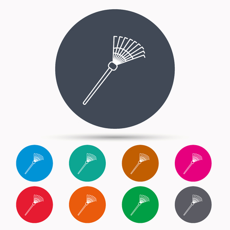 gardening  equipment: Rake icon. Gardening equipment sign. Outdoor instrument symbol. Icons in colour circle buttons. Vector