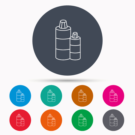 shampoo bottles: Shampoo bottles icon. Liquid soap sign. Icons in colour circle buttons. Vector