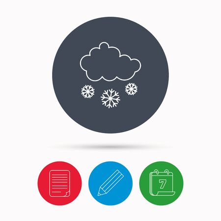 overcast: Snow icon. Snowflakes with cloud sign. Snowy overcast symbol. Calendar, pencil or edit and document file signs. Vector