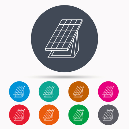 collector: Solar collector icon. Sunlight energy generation sign. Innovation battery power symbol. Icons in colour circle buttons. Vector