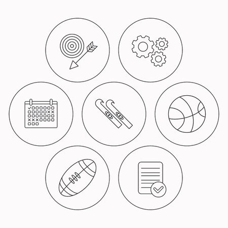 footbal: Sport fitness, skis and basketball icons. American footbal linear sign. Check file, calendar and cogwheel icons. Vector