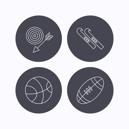 footbal: Sport fitness, skis and basketball icons. American footbal linear sign. Flat icons in circle buttons on white background. Vector Illustration