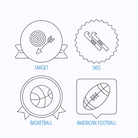 footbal: Sport fitness, skis and basketball icons. American footbal linear sign. Award medal, star label and speech bubble designs. Vector