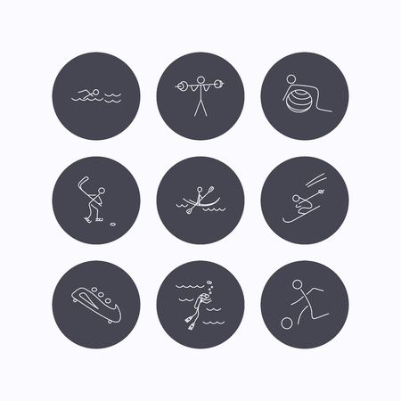 bobsleigh: Swimming, football and skiing icons. Ice hockey, diving and gymnastics linear signs. Kayaking, weightlifting and bobsleigh icons. Flat icons in circle buttons on white background. Vector