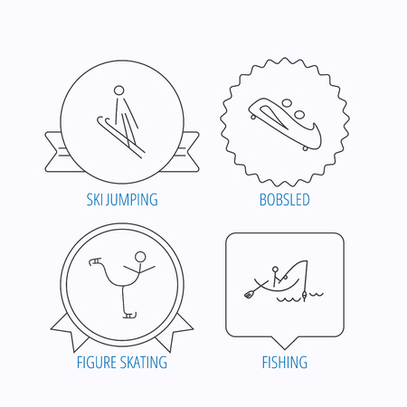 bobsled: Fishing, figure skating and bobsled icons. Ski jumping linear sign. Award medal, star label and speech bubble designs. Vector