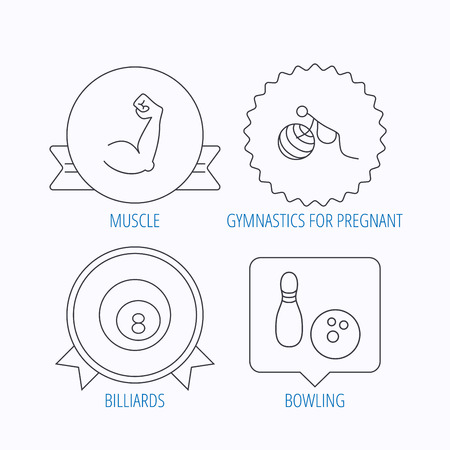 pregnancy exercise: Billiards, bowling and fitness sport icons. Muscle, gymnastics for pregnant linear signs. Award medal, star label and speech bubble designs. Vector