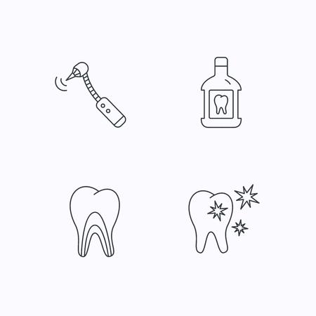 enjuague bucal: De dientes, enjuague bucal y túbulos de la dentina iconos. Los dientes sanos, túbulos de la dentina de signos lineales. iconos lineales planos sobre fondo blanco. Vector Vectores