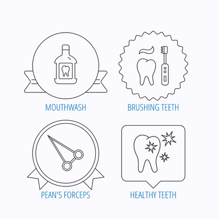 forceps: Mouthwash, healthy teeth and peans forceps icons. Brushing teeth linear sign. Award medal, star label and speech bubble designs. Vector