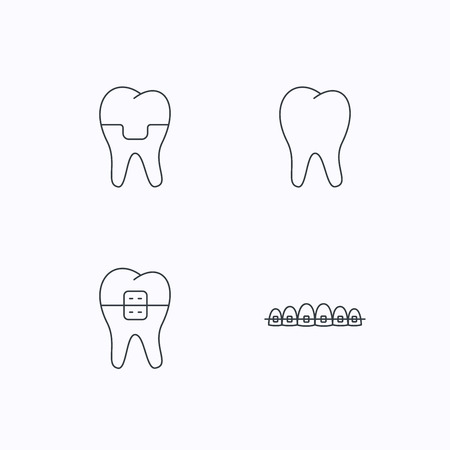 orthodontist: Dental crown, braces and tooth icons. Stomatology linear sign. Flat linear icons on white background. Vector
