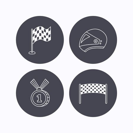 race winner: Race flag, checkpoint and motorcycle helmet icons. Winner award medal linear signs. Flat icons in circle buttons on white background. Vector