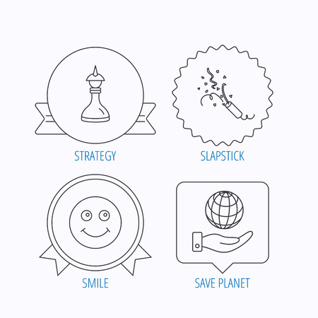 shah: Save planet, slapstick and strategy icons. Smile linear sign. Award medal, star label and speech bubble designs. Vector