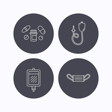 einlauf: Medical mask, blood and pills icons. Enema linear sign. Flat icons in circle buttons on white background. Vector Illustration