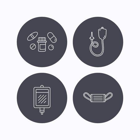 einlauf: Medizinische Maske, Blut und Pillen Symbole. Enema linear Geben unterzeichnen. Flache Symbole im Kreis Schaltflächen auf weißem Hintergrund. Vektor