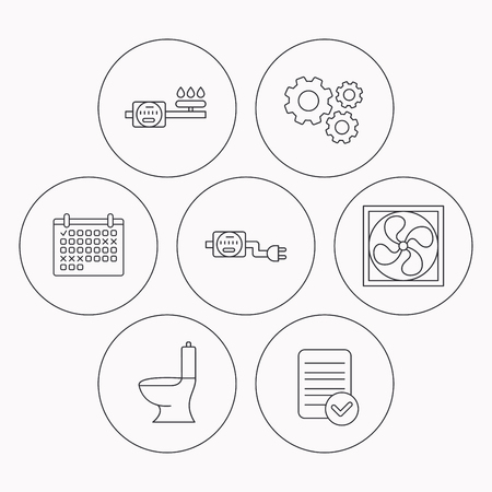 sewage: Ventilation, toilet and gas counter icons. Electricity counter linear sign. Check file, calendar and cogwheel icons. Vector