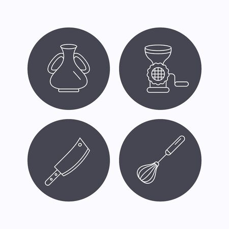 butcher knife: Meat grinder, butcher knife and whisk icons. Vase linear sign. Flat icons in circle buttons on white background. Vector Illustration