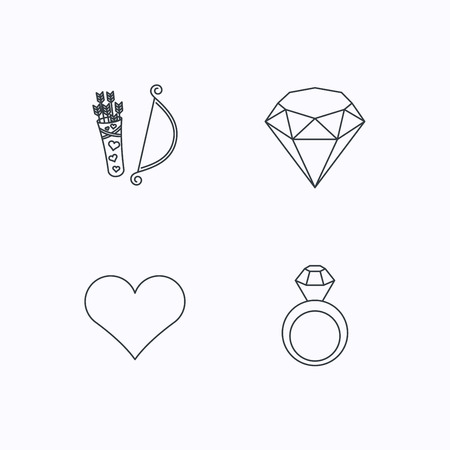 brilliant: Love heart, brilliant and engagement ring icons. Valentine bow linear sign. Flat linear icons on white background. Vector