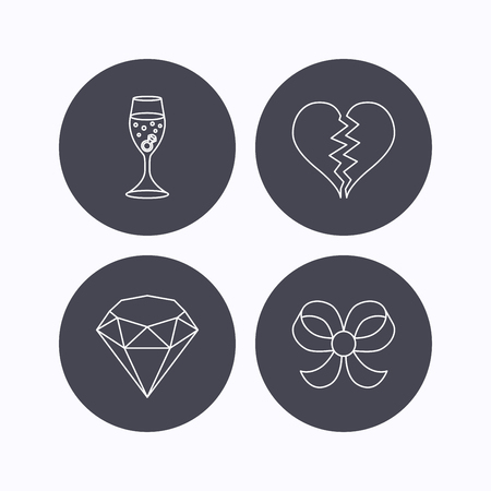 brilliant heart: Broken heart, brilliant and engagement ring icons. Bow-knot linear sign. Flat icons in circle buttons on white background. Vector