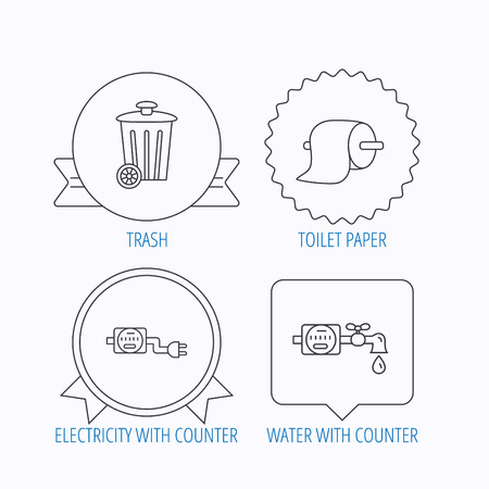 canalization: Trash bin, electricity and water counter icons. Toiler paper linear sign. Award medal, star label and speech bubble designs. Vector