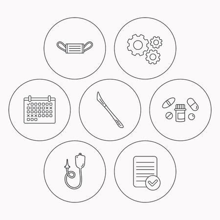 enema: Medical mask, pills and scalpel icons. Enema linear sign. Check file, calendar and cogwheel icons. Vector Illustration
