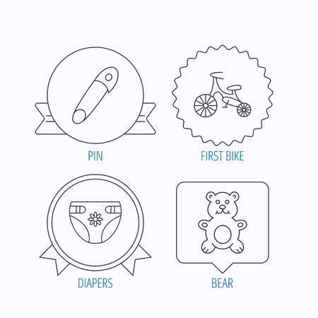 diapers: Bear toy, diapers and first bike icons. Pin linear sign. Award medal, star label and speech bubble designs. Vector