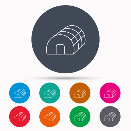 warm house: Greenhouse complex icon. Hothouse building sign. Warm house symbol. Icons in colour circle buttons. Vector Illustration