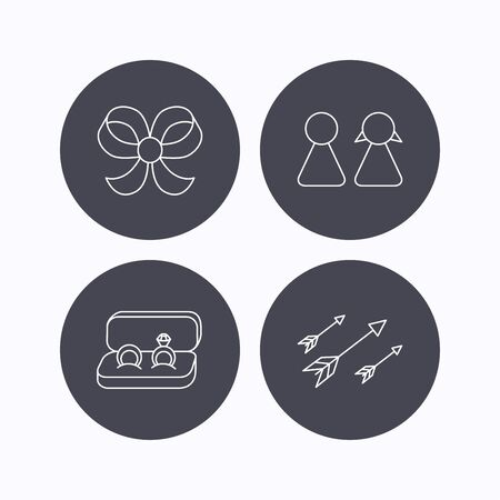 bowknot: Arrows, couple and wedding rings icons. Bow-knot linear sign. Flat icons in circle buttons on white background. Vector