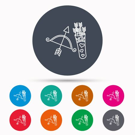 amour: Amour arrows and bow icon. Valentine weapon sign. Icons in colour circle buttons. Vector