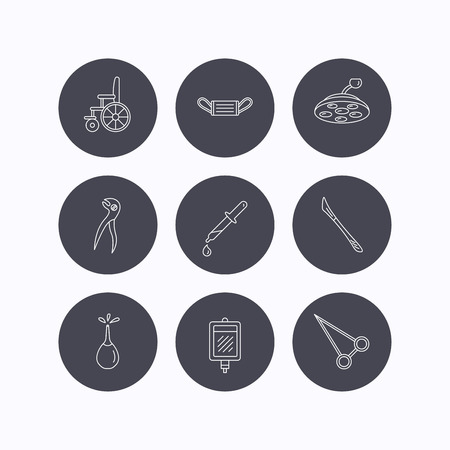 surgical mask: Medical mask, scalpel and dental pliers icons. Pipette, surgical lamp and wheelchair linear signs. Blood donation, clyster and drop flat line icons. Flat icons in circle buttons on white background. Vector