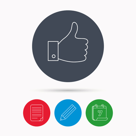 date validate: Thumb up like icon. Super cool vote sign. Social media symbol. Calendar, pencil or edit and document file signs. Vector