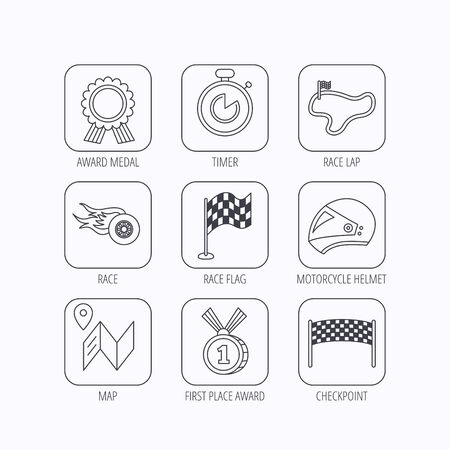 race winner: Race flag and speed icons. Winner medal, motorcycle helmet and timer linear signs. Map navigation flat line icons. Flat linear icons in squares on white background. Vector Illustration