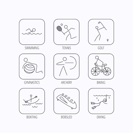bobsleigh: Swimming, tennis and golf icons. Biking, diving and gymnastics linear signs. Archery, boating and bobsleigh icons. Flat linear icons in squares on white background. Vector