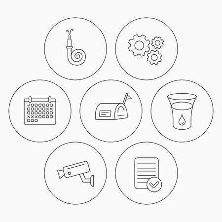 Mailbox, video monitoring and fire hose icons. Glass of water linear sign. Check file, calendar and cogwheel icons. Vector Illustration