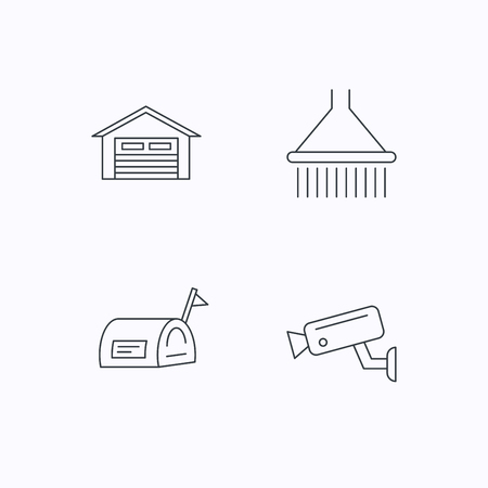 Mailbox, video monitoring and garage icons. Shower linear sign. Flat linear icons on white background. Vector