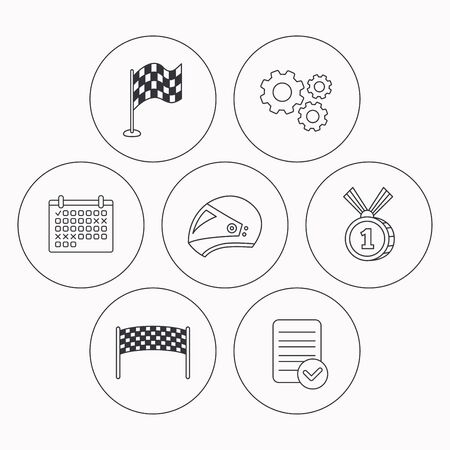 race winner: Race flag, checkpoint and motorcycle helmet icons. Winner award medal linear signs. Check file, calendar and cogwheel icons. Vector