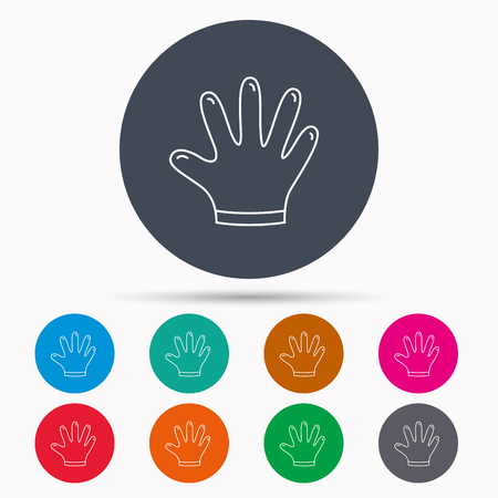 rubber gloves: Rubber gloves icon. Latex hand protection sign. Housework cleaning equipment symbol. Icons in colour circle buttons. Vector