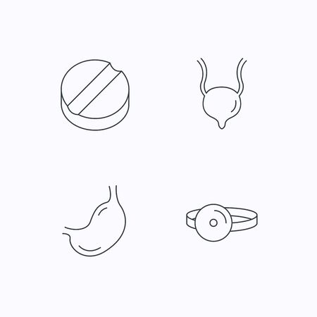 urinary bladder: Medical mirror, tablet and stomach organ icons. Urinary bladder linear sign. Flat linear icons on white background. Vector