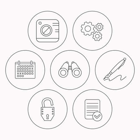 open file: Photo, open lock and search icons. Pen linear sign. Check file, calendar and cogwheel icons. Vector Illustration